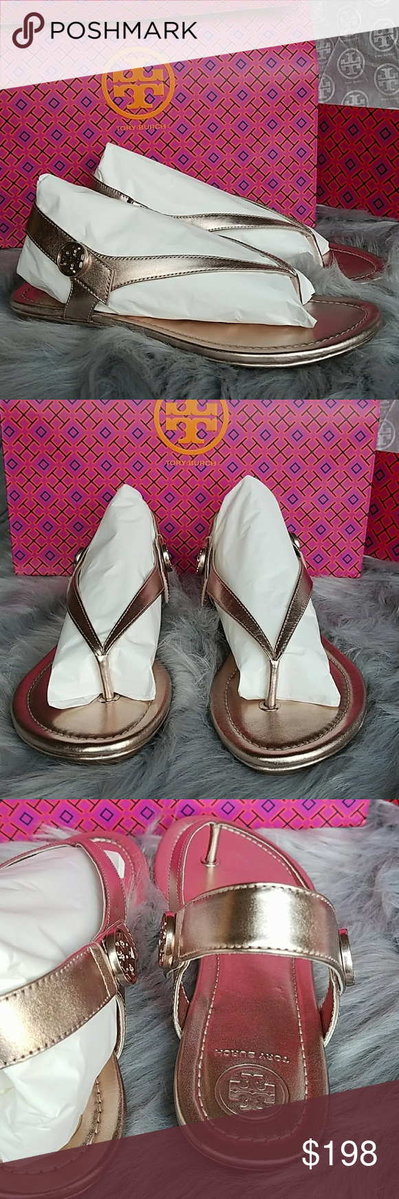 ddbd0437bcd1 Tory Burch Minnie Travel Sandal Rose Gold 7 Tory Burch Minnie Travel Sandal  metallic leather. Rose Gold color in size 7. New with box.
