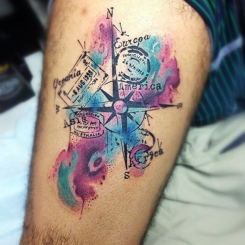 110 best compass tattoo designs ideas and images compass tattoo watercolor world map tattoo gumiabroncs Image collections