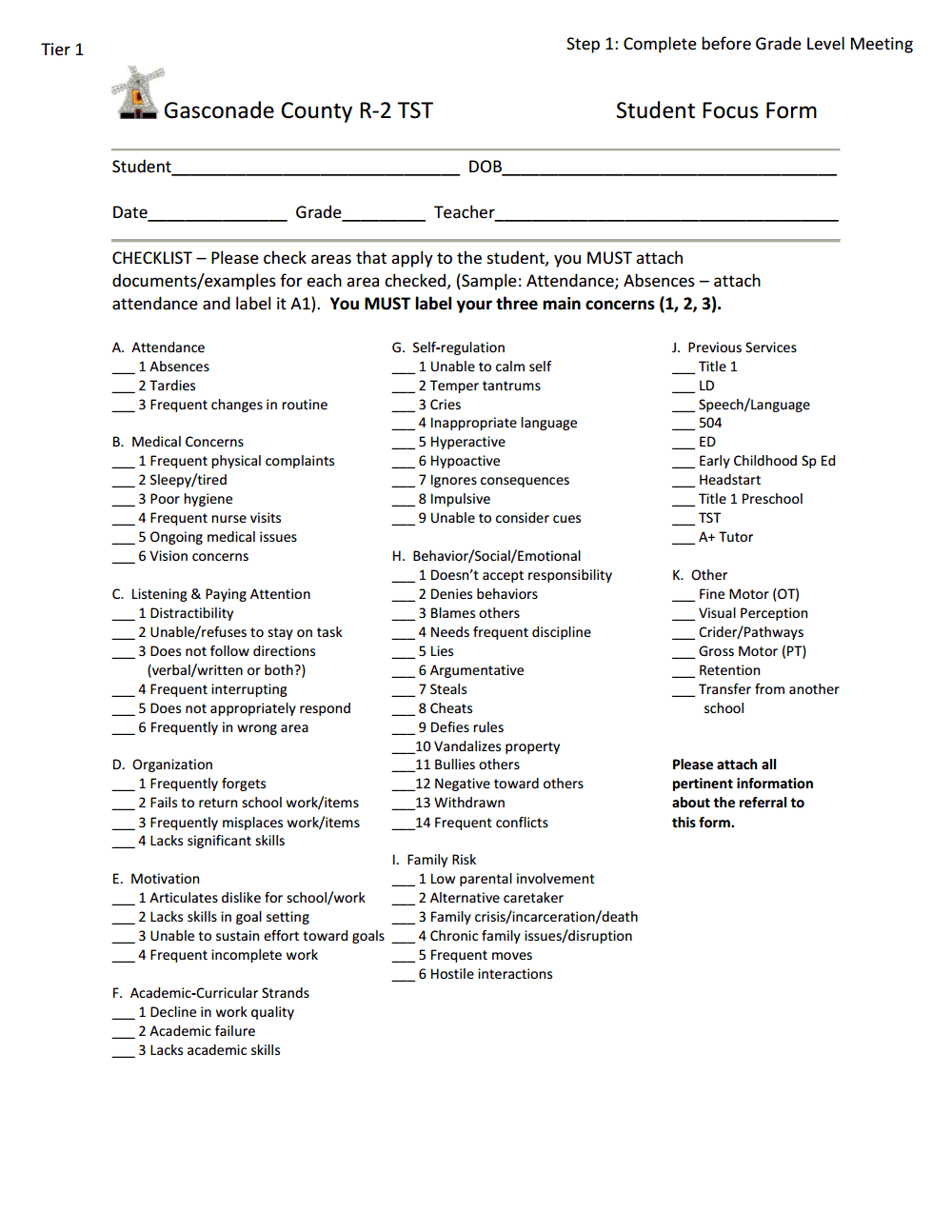 Student Focus Form Step 1.pdf Student focus, Teacher