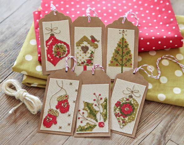 Christmas tags stitch kit - free with CrossStitcher issue 247 | Cross Stitcher