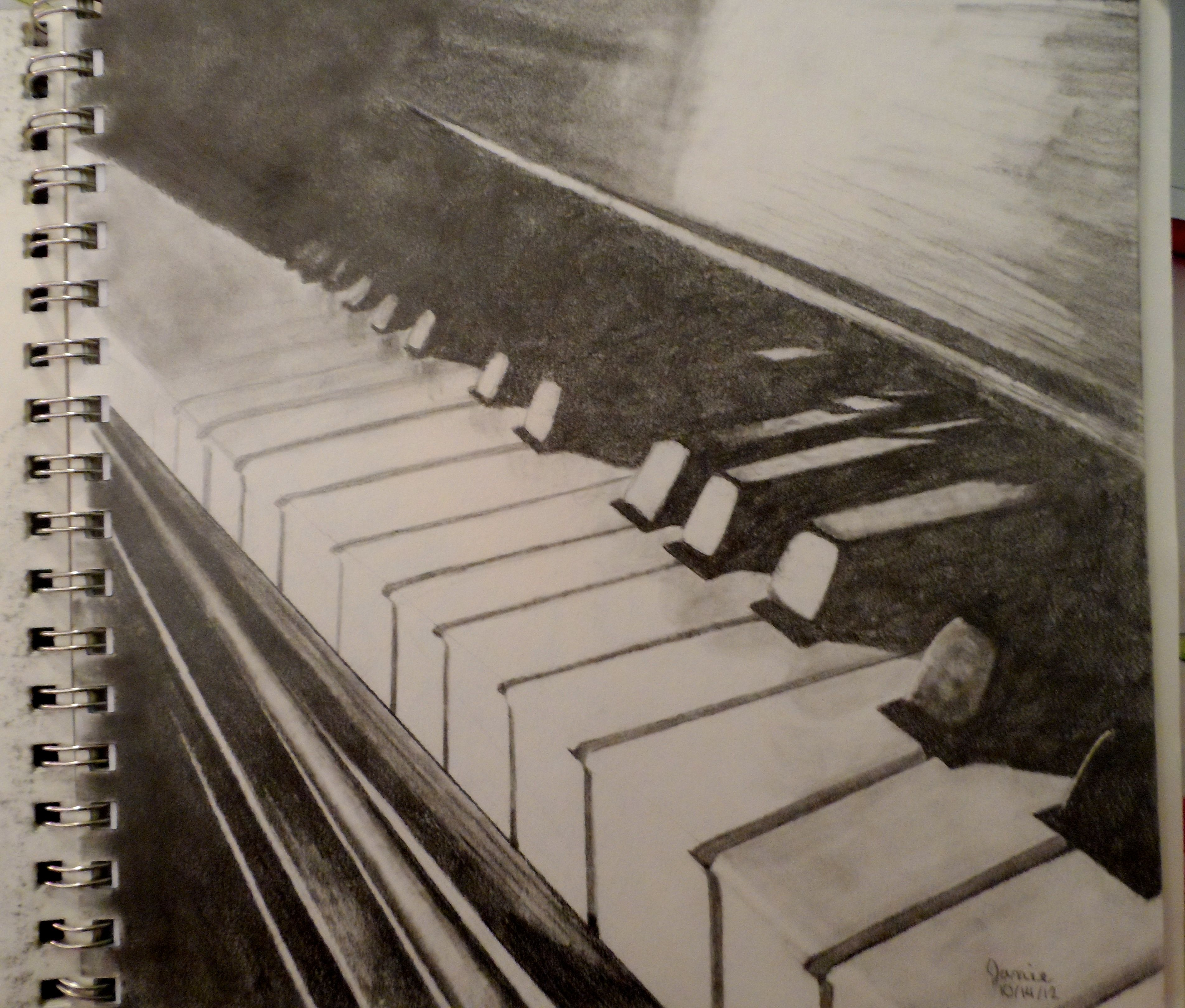 Graphite pencil drawing piano drawing music pencil