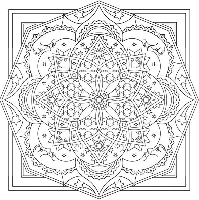 Creative Haven Celestial Mandalas Coloring Page