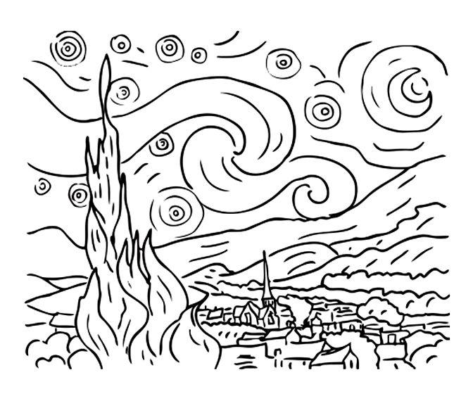 Pour Imprimer Ce Coloriage Gratuit Coloriage Van Gogh Nuit Etoilee Cliquez Sur L Icone Imprimante Situe Dessins Van Gogh Nuit Etoilee Van Gogh Nuit Etoilee