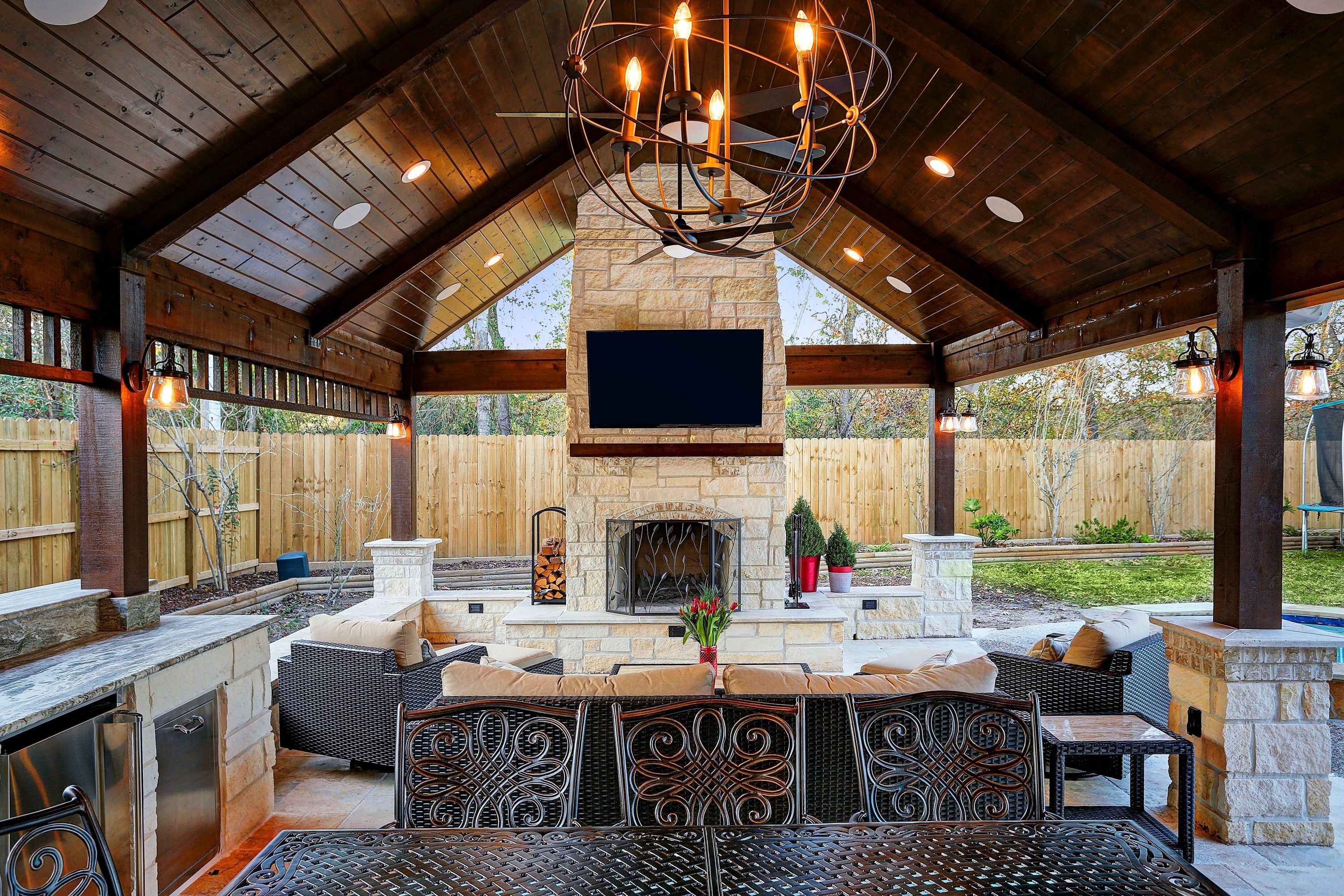 Patio Cover Outdoor Fireplace Vaulted Ceiling Outdoor Kitchen Outdoor Living Patio Patio Design Outdoor Fireplace Designs