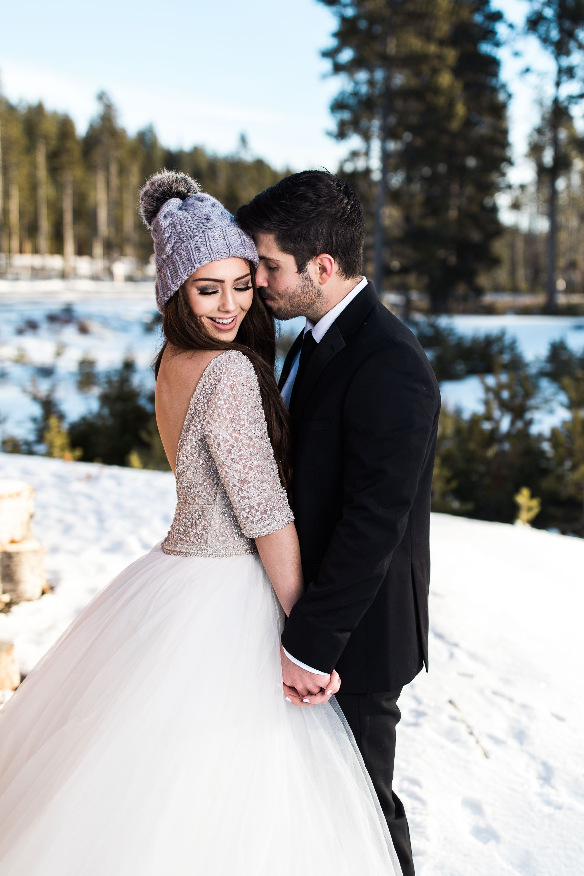 882c4433643f A fuzzy hat makes this winter wedding moment that much cuter. Allen wedding  dress by Sottero and Midgley. #SotteroandMidgley #winterwedding ...