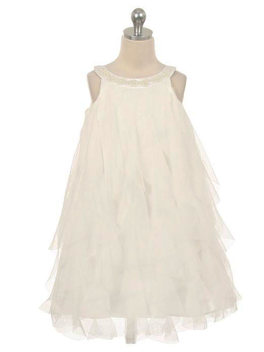 A waterfall of ruffles adds twirl ready appeal to your little ladies