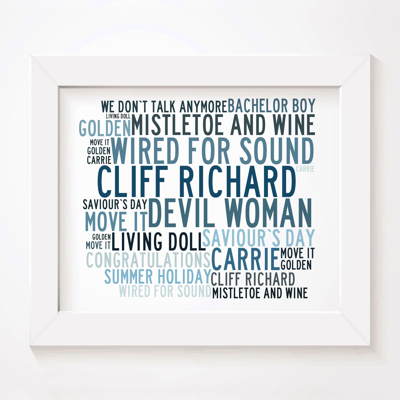 Cliff Richard limited edition typography lyrics art print, signed ...