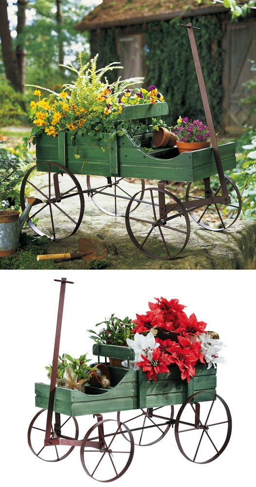 Decorative Amish Country Wagon Garden Indoor Outdoor Decor