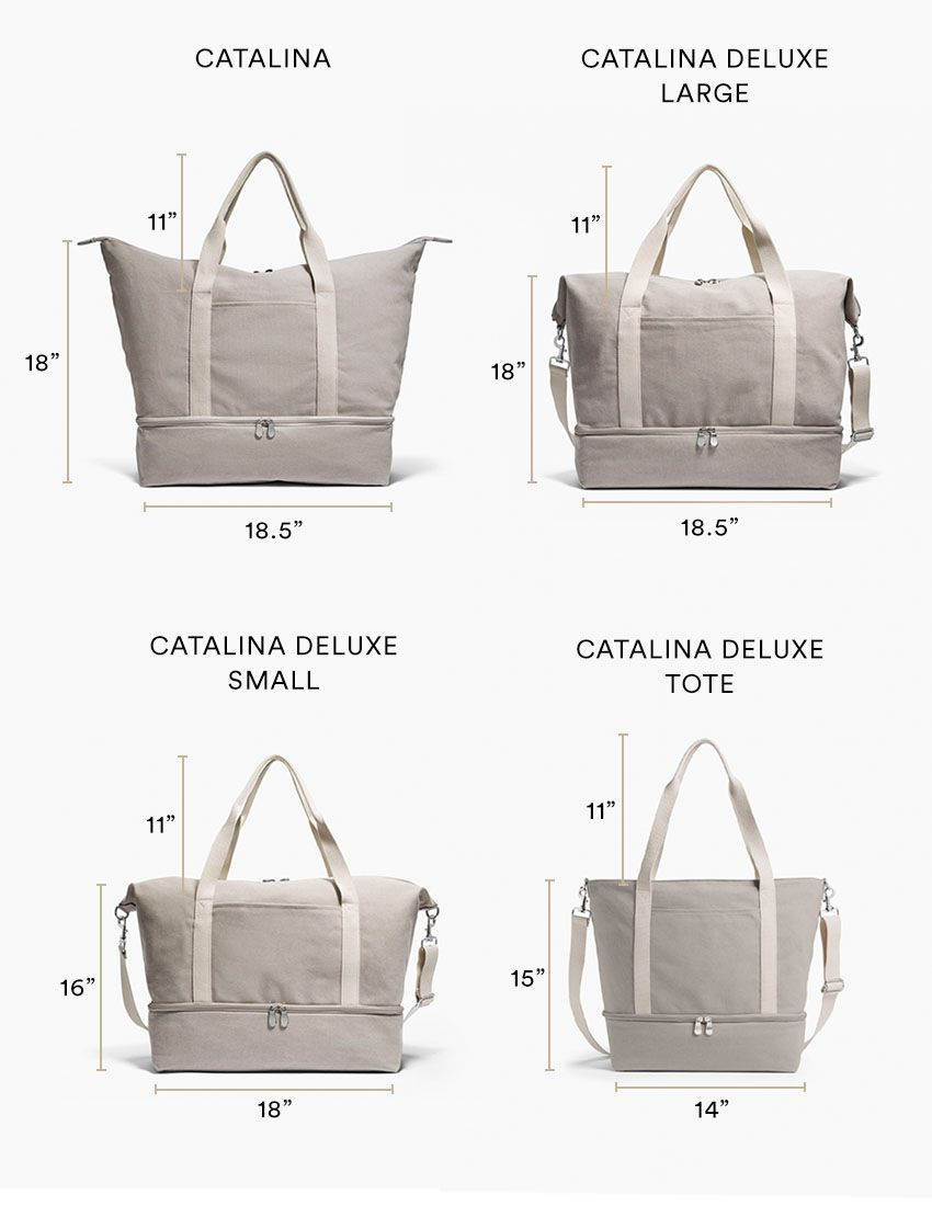 the catalina vs the catalina deluxe weekender tote bag sizes oh