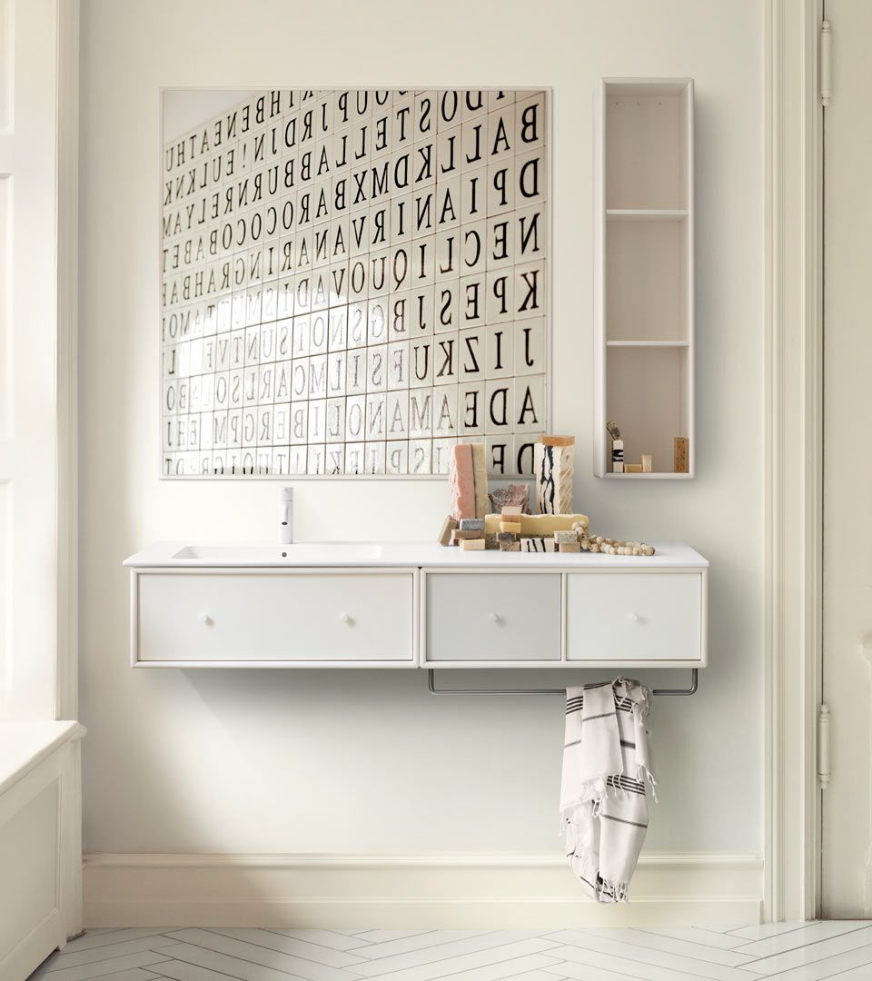 waschbecken und spiegel f r die gr eres badezimmer oder ein kleines g ste wc pinterest. Black Bedroom Furniture Sets. Home Design Ideas