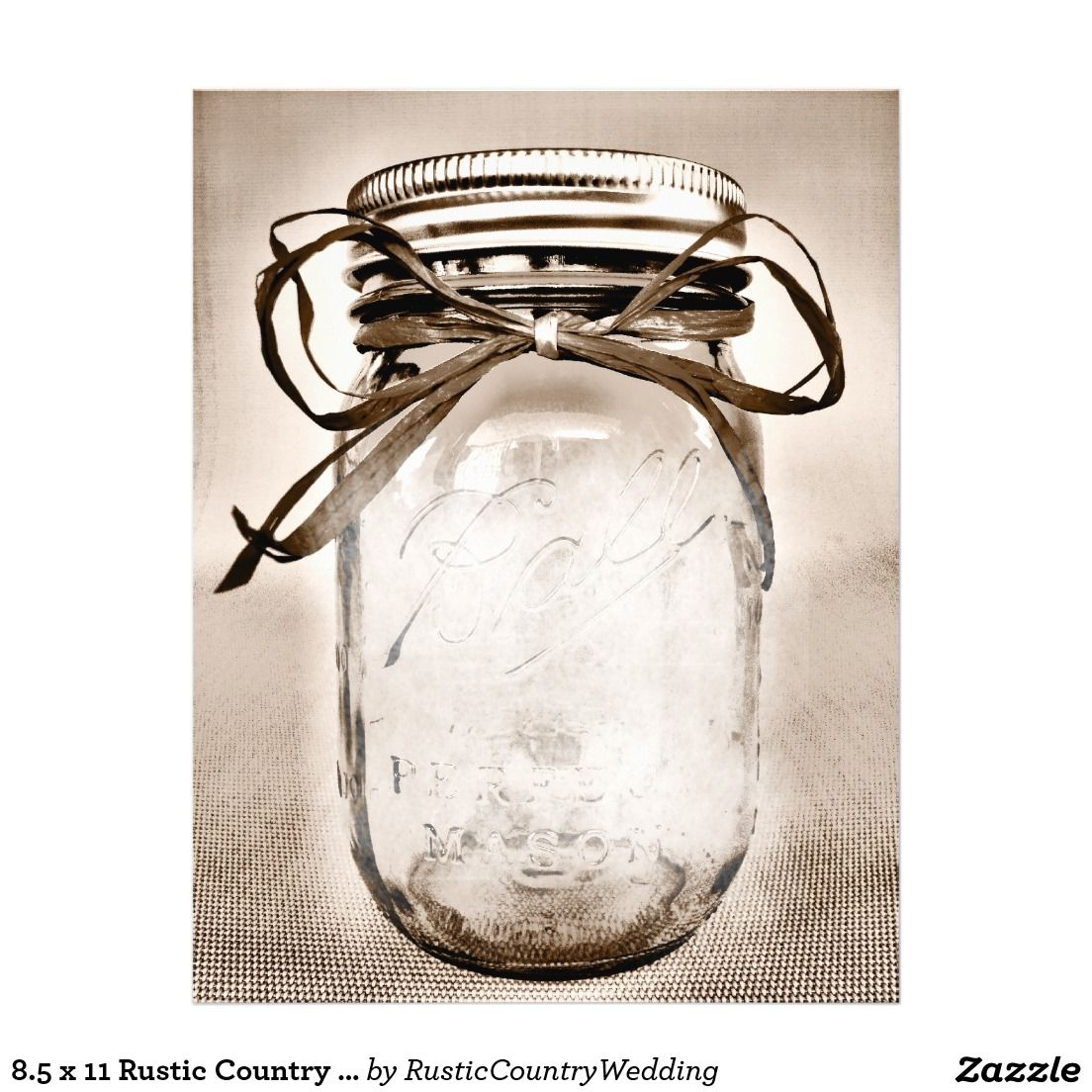 85 X 11 Rustic Country Mason Jar Blank Paper With The Design On Both Sides