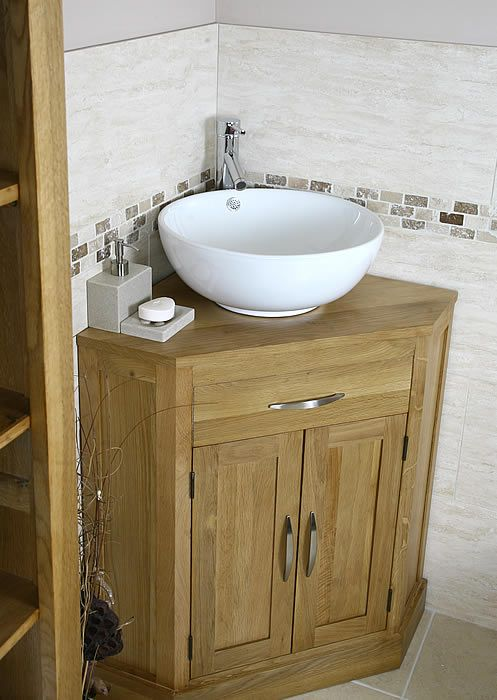 Oak And Ceramic Corner Bathroom Vanity Sink Set Click Bathroom Small Bathroom Sinks Small Bathroom Vanities Corner Sink Bathroom