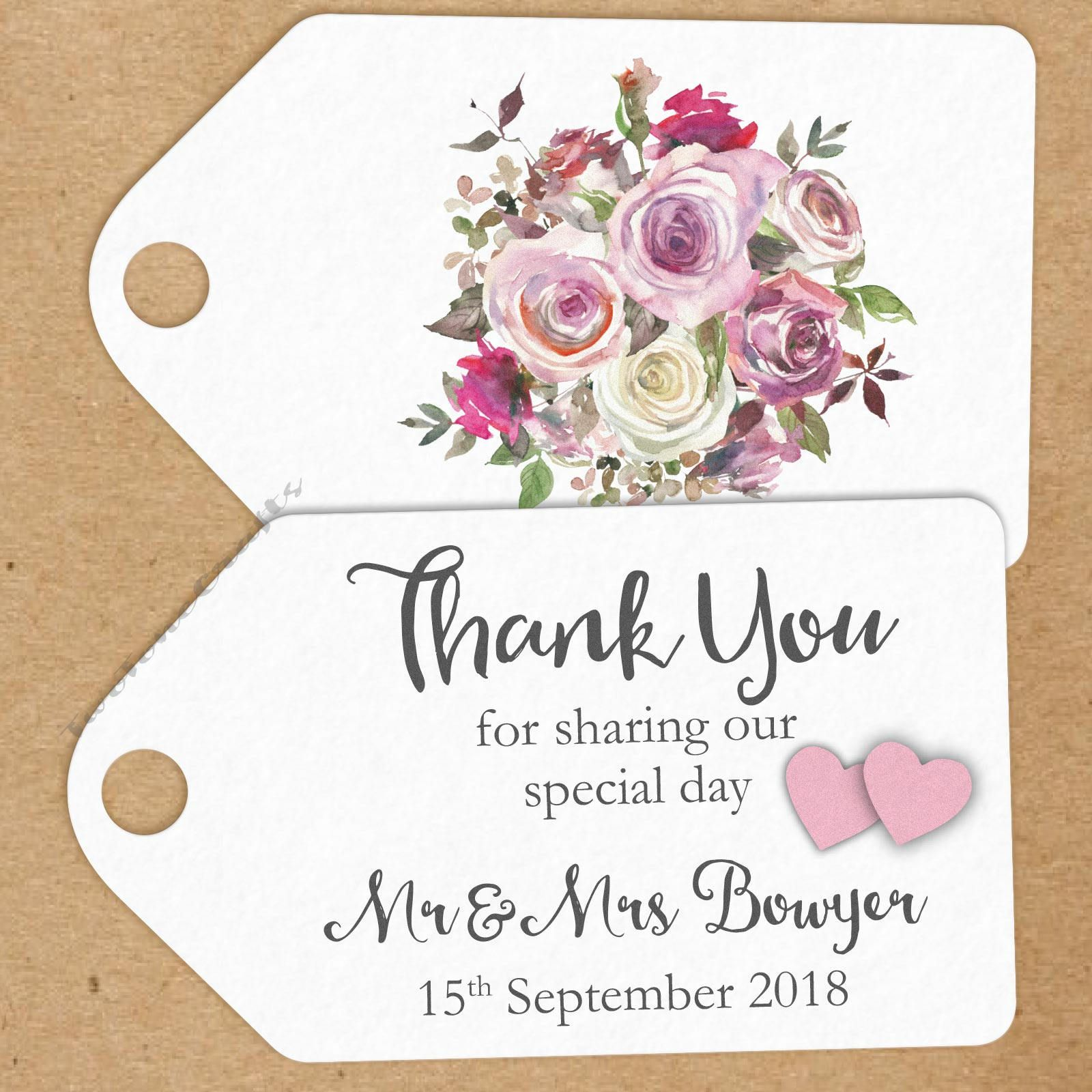 10 x Personalised Small Thank You/Special Day Wedding Favour Tags ...