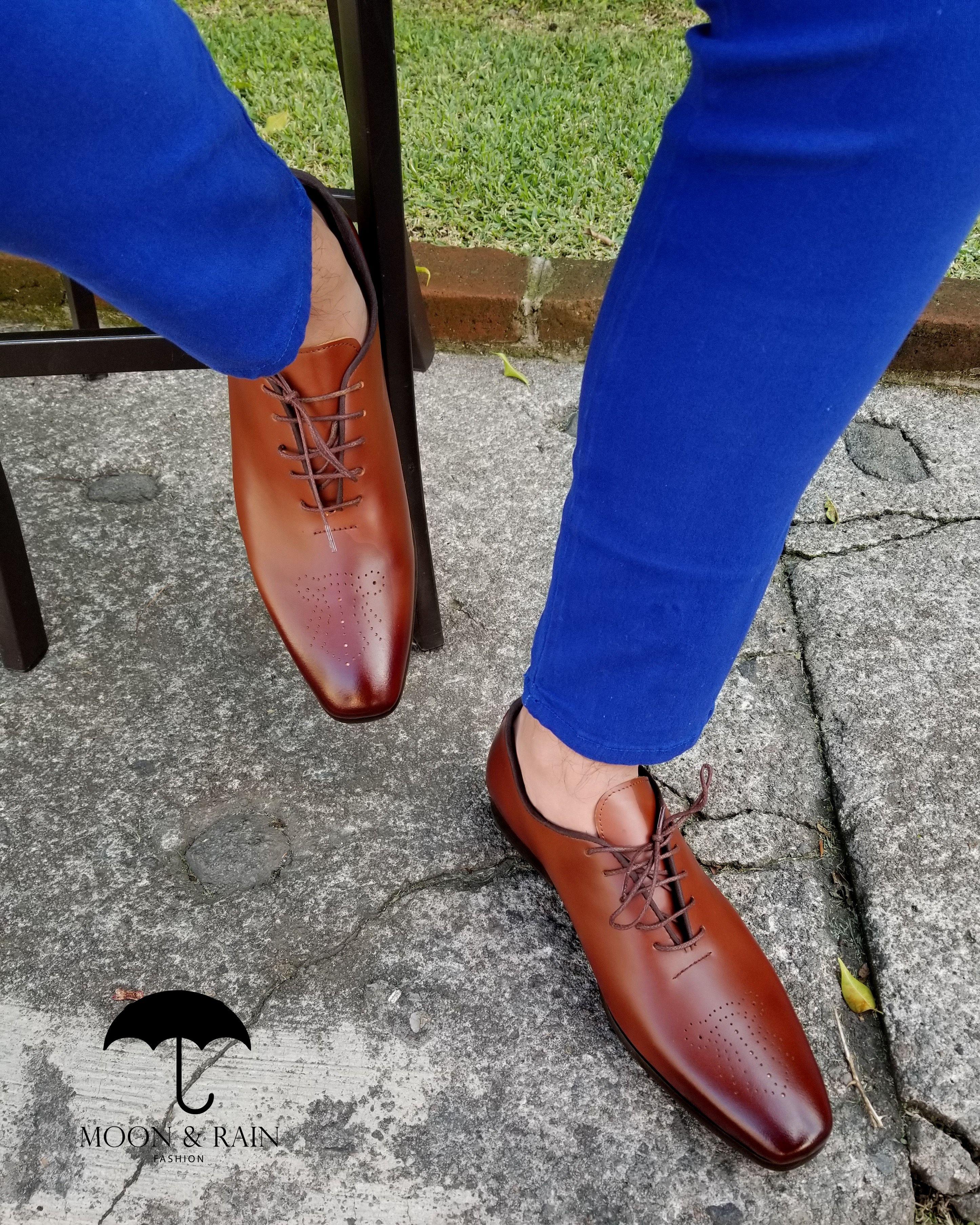 10f17ad0 Zapatos para hombre estilo mocasín de piel genuina café para hombre con  suela de cuero para