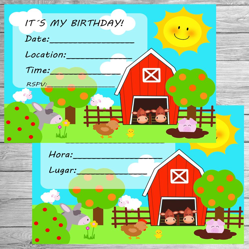 Invitaciones fiesta granja Fiestas de cumpleaños infantiles Fiesta de animales de granja