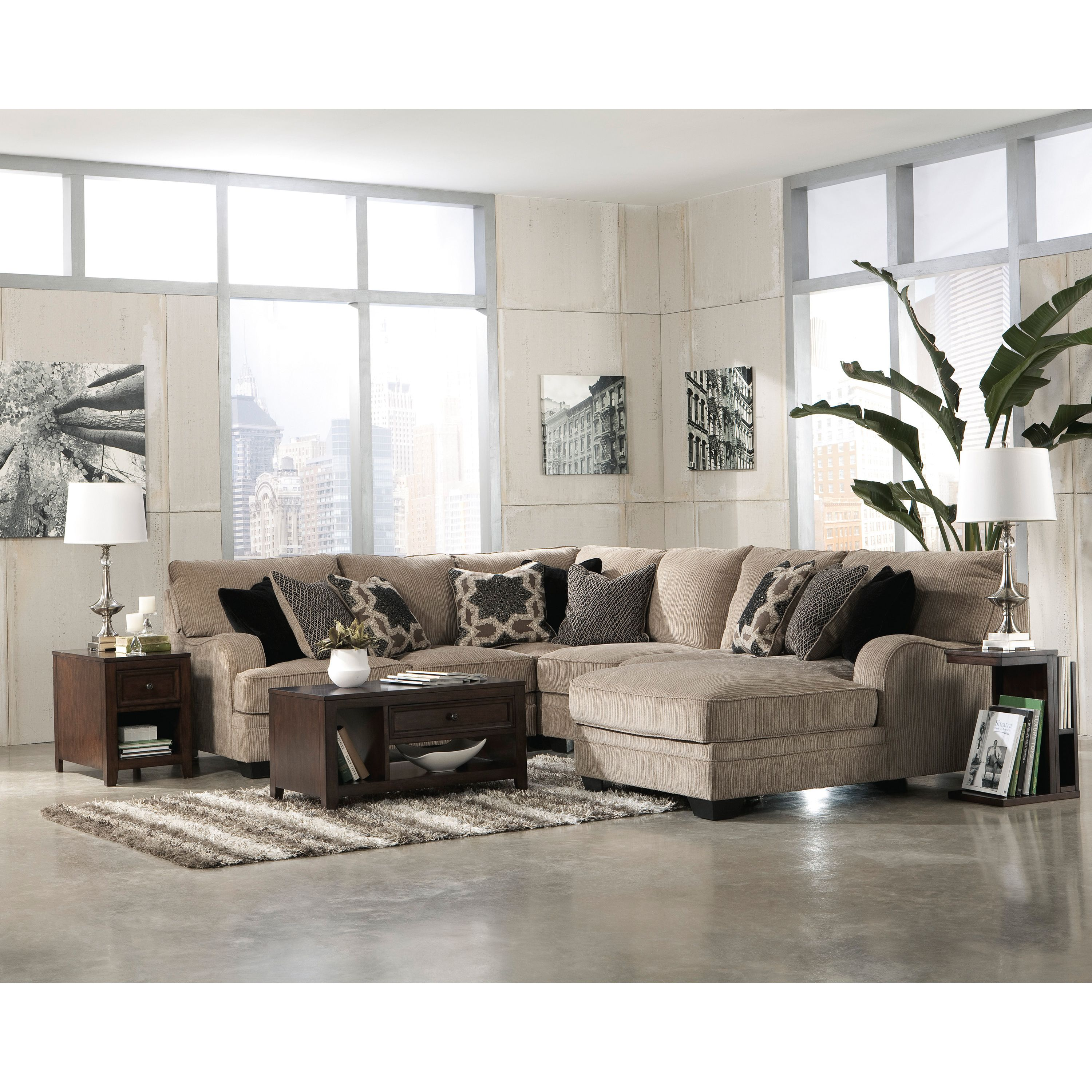 Signature Design by Ashley Katisha Platinum Loveseat Sectional by