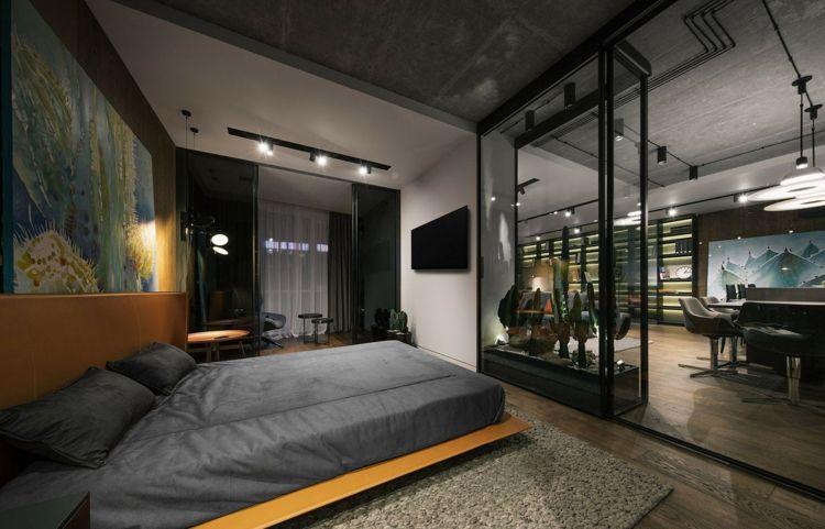 glas stahl vitrine als raumteiler trennwand schlafbereich wohnzimmer