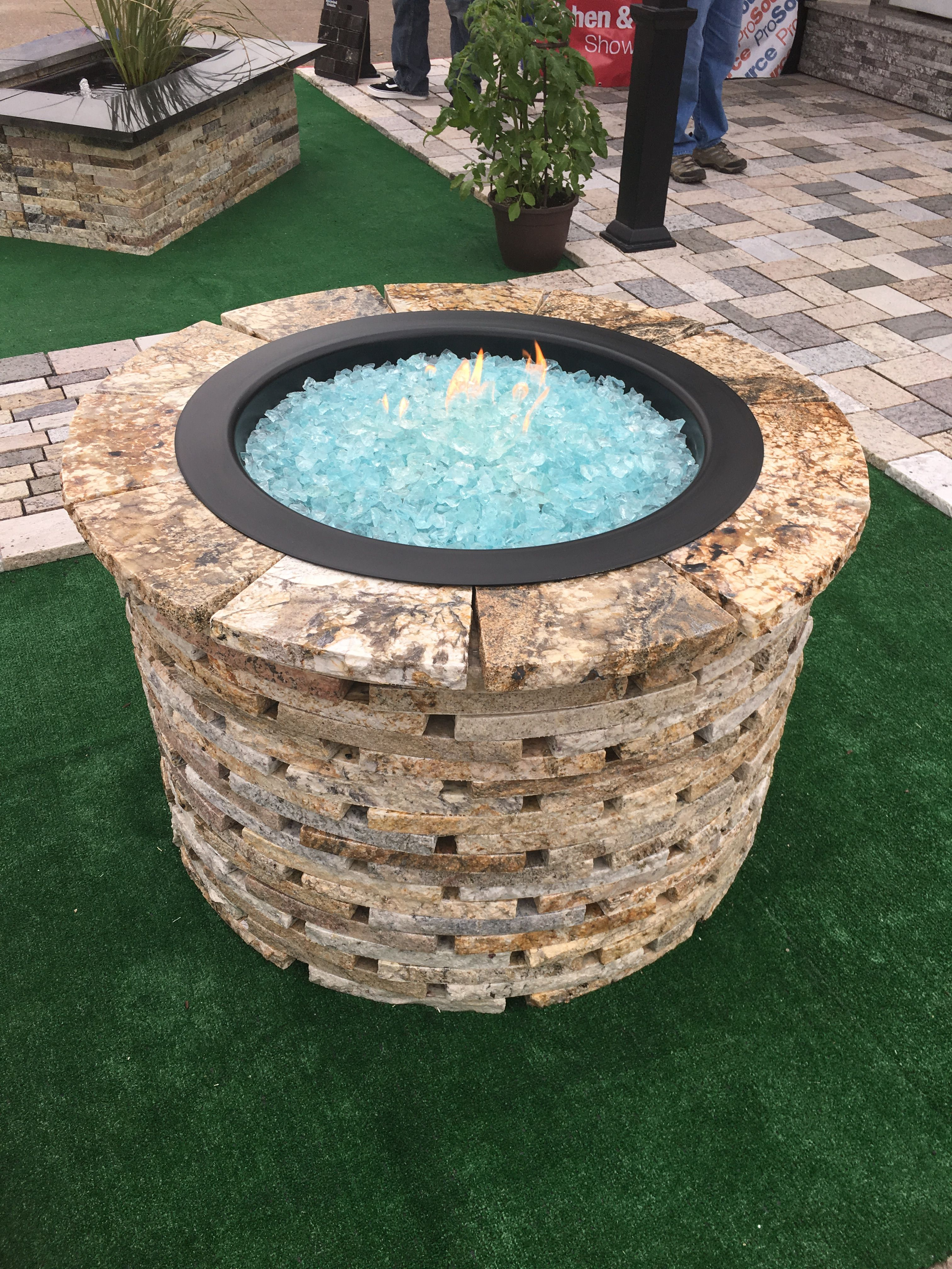 Propane Fire Pit Made From Ae Recycled Granite Blocks And Recycled