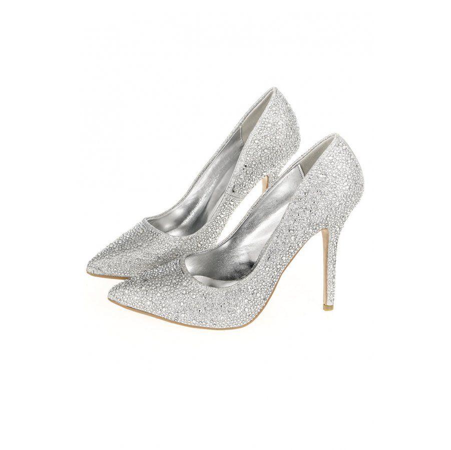 Silver Diamante Court Shoes - Quiz