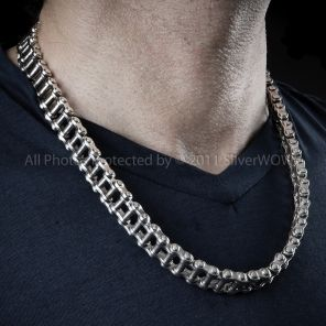 Silver Bike Chain Mens Necklace Silver Chain For Men Chunky