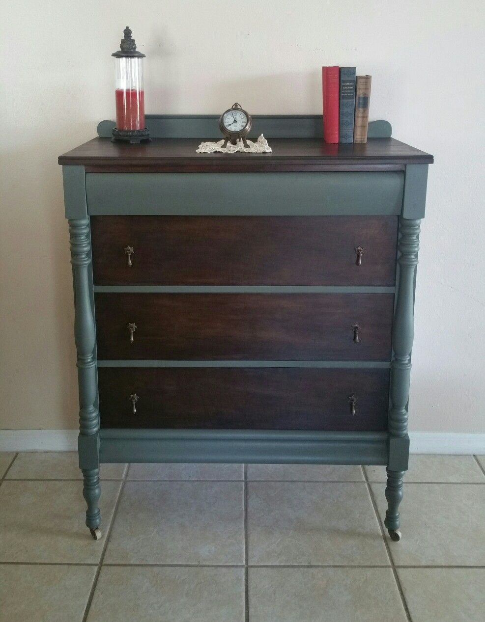 Antique dresser painted in sherwin williams cast iron for Chalk paint at sherwin williams