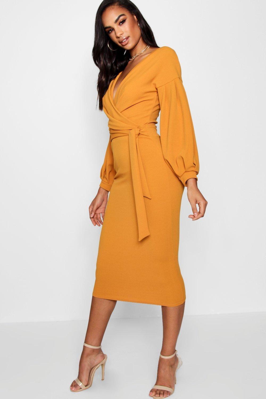 8ecf95c872ab Tall Mabel Off The Shoulder Wrap Midi Bodycon Dress | Bodycon dress ...