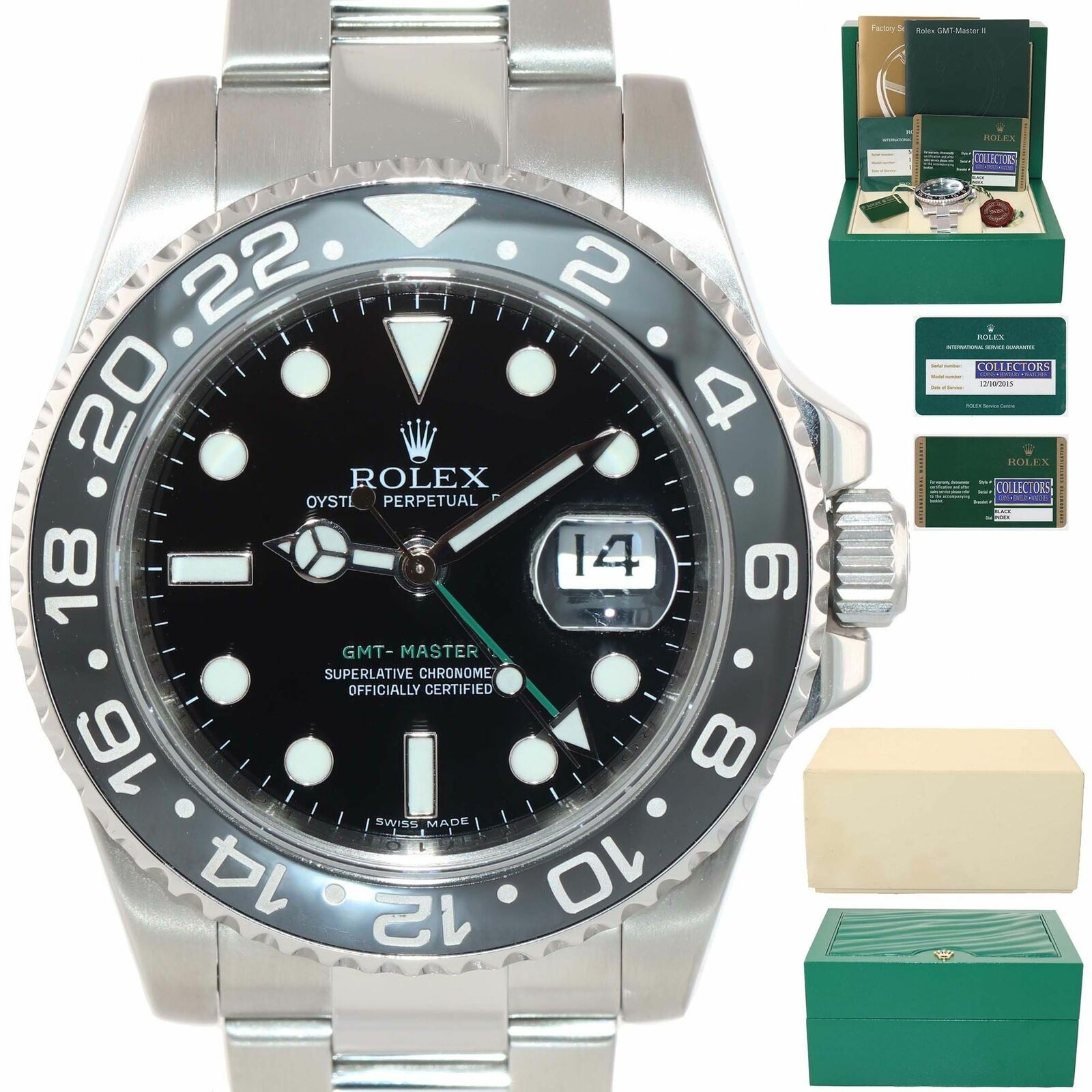 2015 SVC PAPERS Rolex GMT Master 116710 LN Steel Ceramic 40mm Black Date Watch  - Montre Rolex - idées de Montre Rolex #montrerolex #rolex #montre #rolexgmtmaster