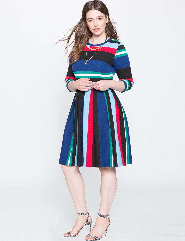 Opposing Striped Knit Dress Patchwork Geo Knit Dress Plus Size Dresses Striped Knit Dress [ 1370 x 1050 Pixel ]