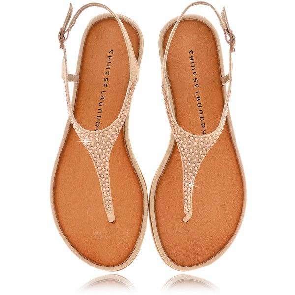 Chinese Laundry Game Show Beige Crystal T Bar Sandals 62
