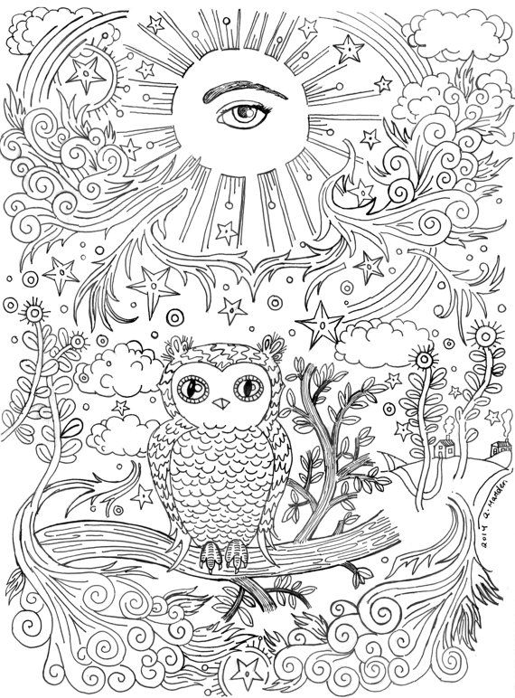 coloring book page allseeing eye  owl on a branch