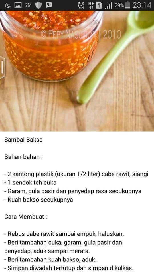 Sambel Buat Bakso Makanan Pedas Ide Makanan Resep Masakan