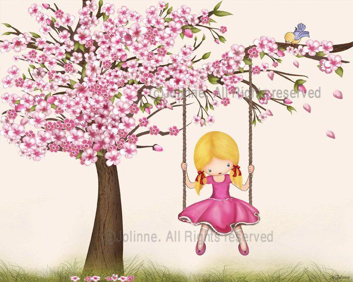 Cherry blossom wall art print, girls room decor, nursery ...