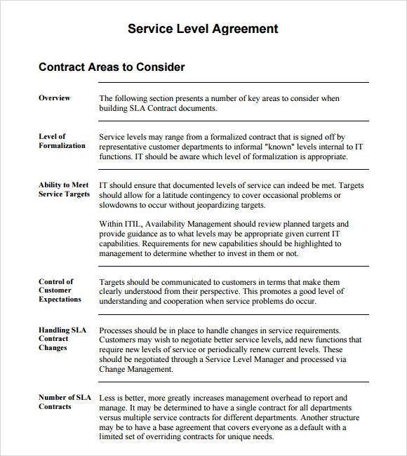 sample service level agreement Unglaublich Service Level ...