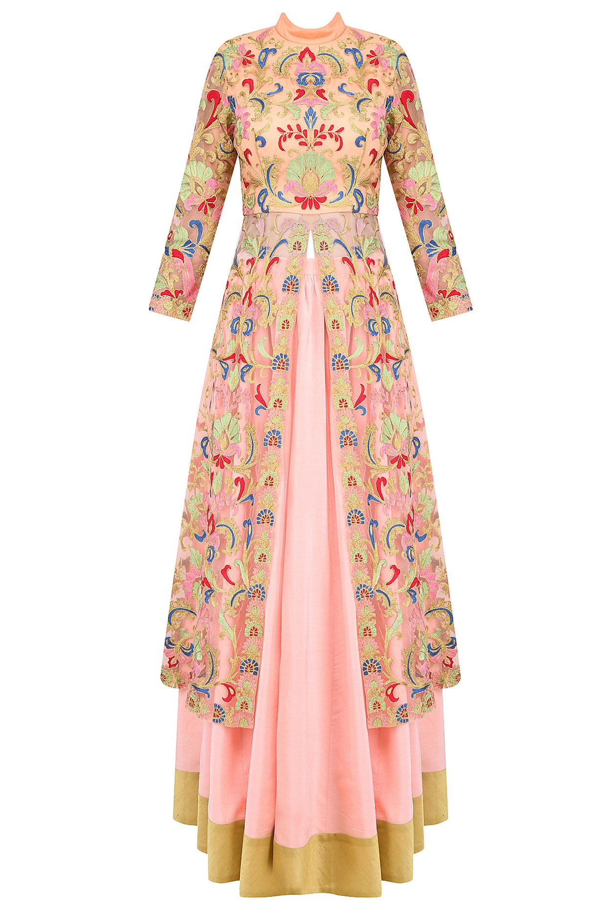 13dec49a0e9a Pink floral embroidered jacket style kurta with skirt available only at  Pernia s Pop Up Shop.