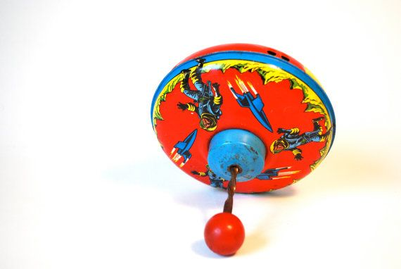 Vintage Space Themed Tin Toy Top by WonderlandToys on Etsy