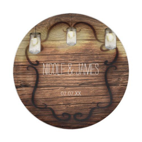 Rustic Country Wood & Lighted Mason Jars Wedding Paper Plate | Mason ...