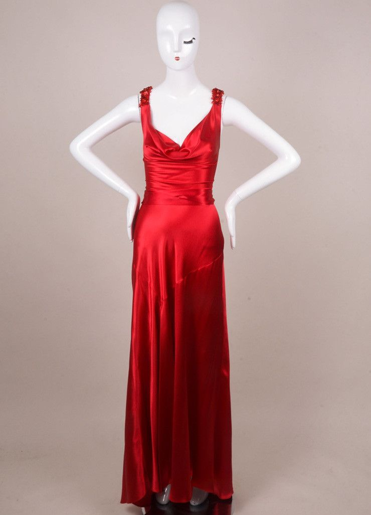 Red Silk Embellished Lace Up Gown | Casino Pics | Pinterest