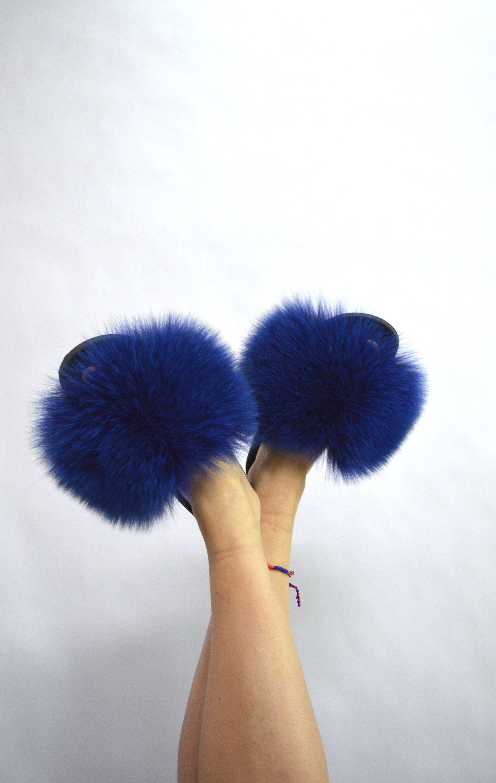 real fur slides electric blue fox rubber fur slippon fur flip flop
