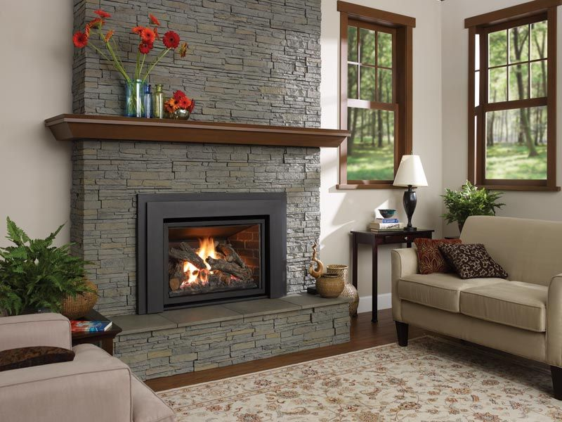 Contemporary Traditional Fireplace With Pellet Stove