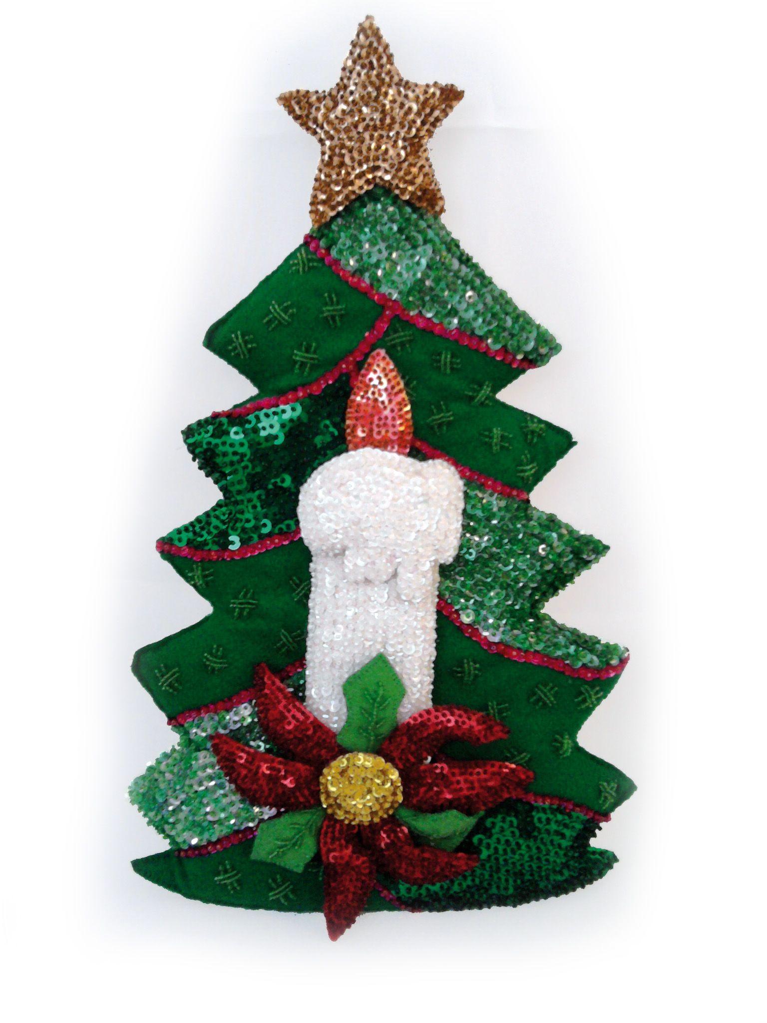 Arbolito de navidad en fieltro bordado en lentejuela - Arbolito de navidad ...