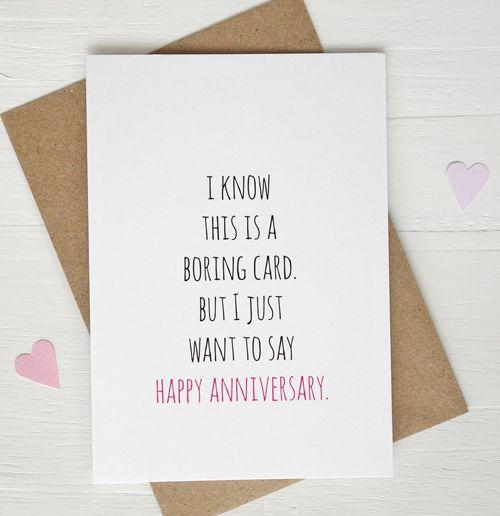 Funny Anniversary Card Boring Card Happy Anniversary Gift