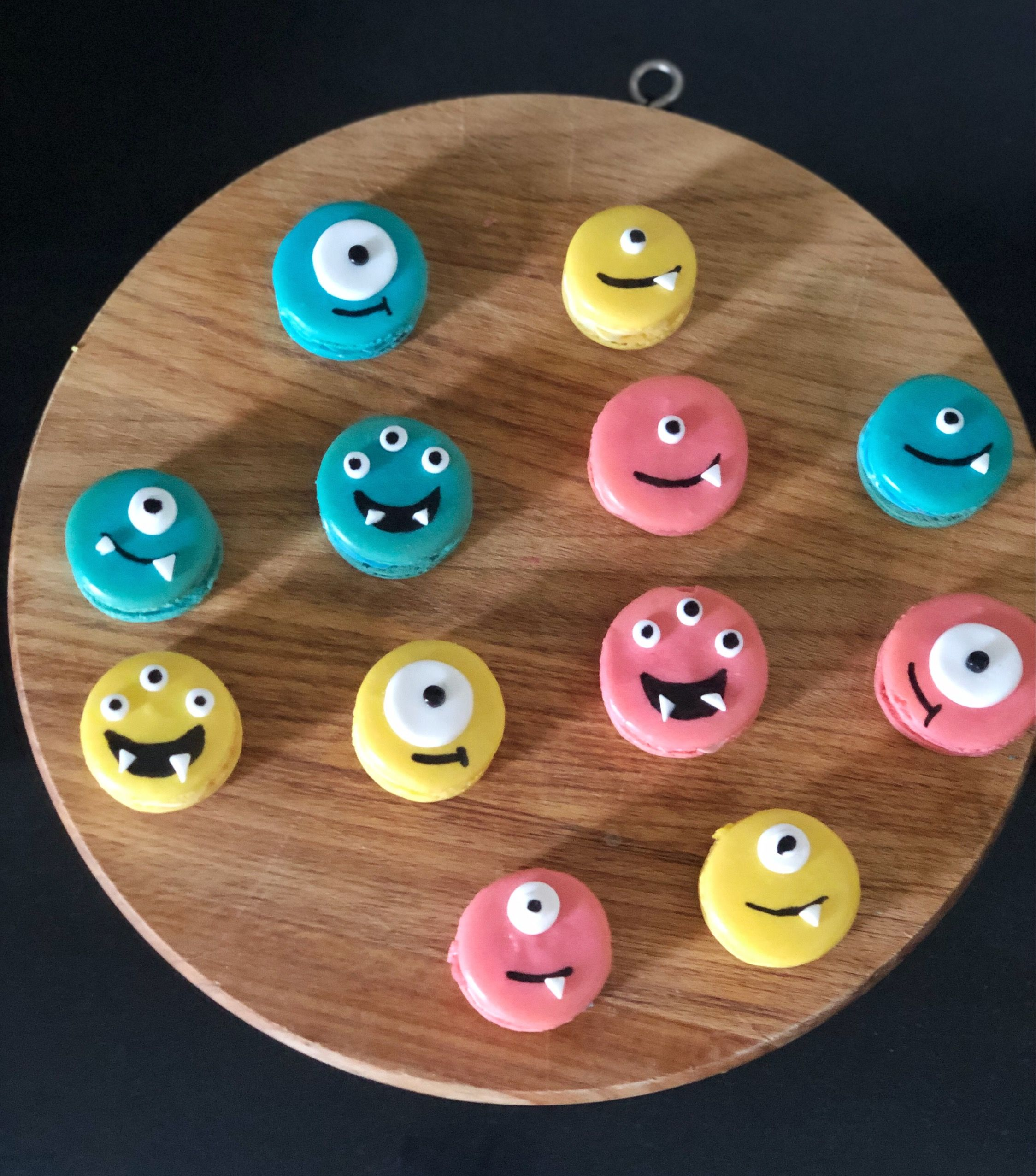 Friendly monster macarons birthday cake kids themed