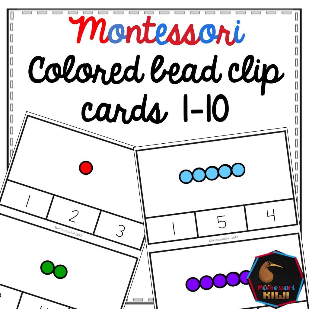 Montessori Colored Bead Clip Cards Learn Numbers 1 10