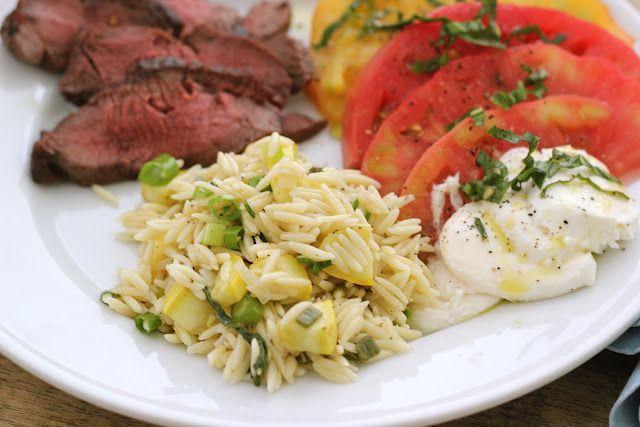 Jenny Steffens Hobick: Simple Summer Supper Menu   Lemon Orzo & Squash, Teriyaki Marinated Steak & Heirloom Tomatoes