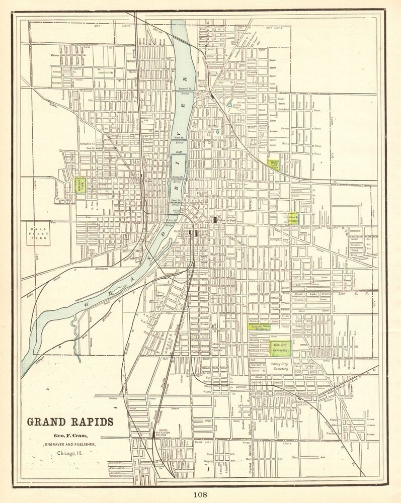 1898 Antique Grand Rapids Michigan Map Vintage Map Gallery Wall Art 5832 Art Gallery Wall Grand Rapids Map Grand Rapids
