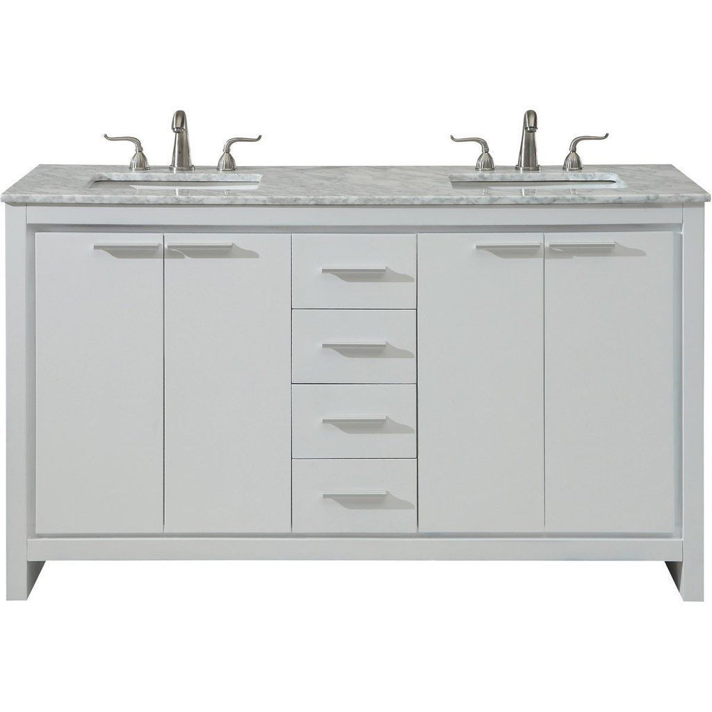 Filipo 60 X 35 4 Drawer 4 Door Vanity Cabinet White Finish Vf12860dwh Vanity Cabinet Vanity Set Decor