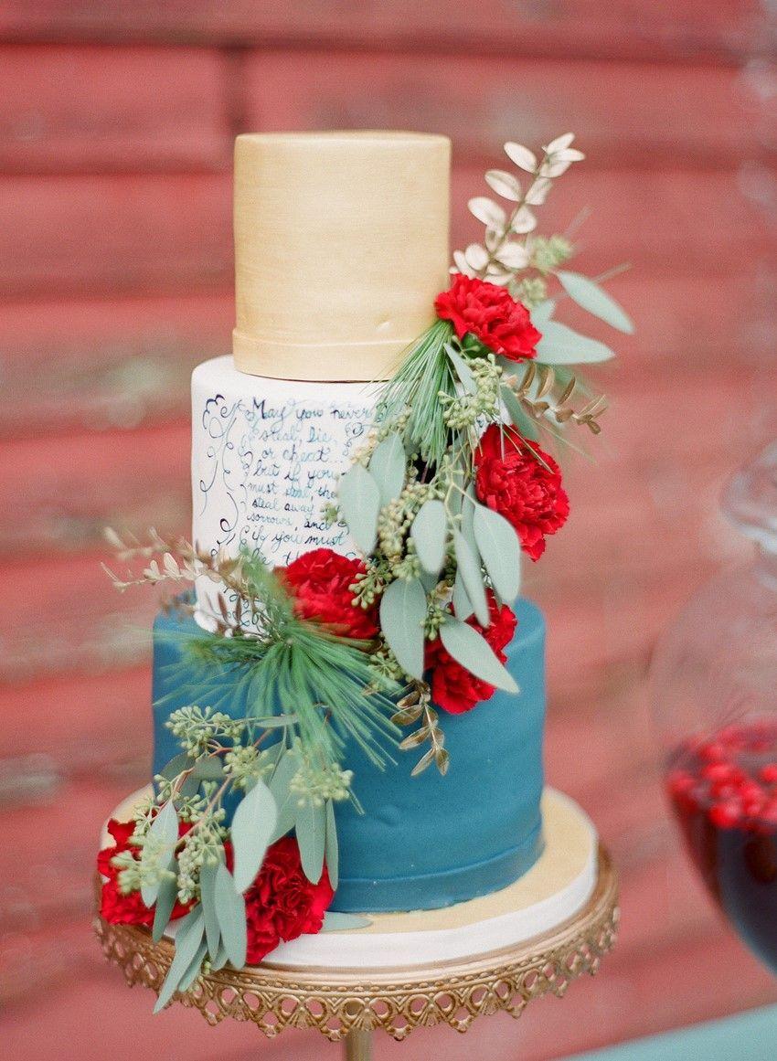 Rustic vintage winter wedding inspiration in red blue u gold