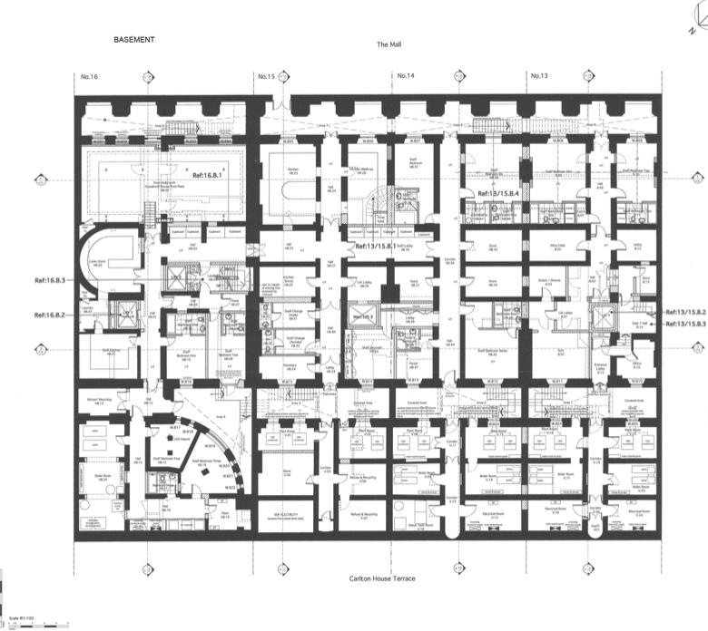 Basement floor plans to 13 16 carlton house terrace in for 17 carlton house terrace london