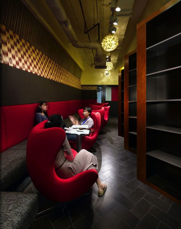 Architecture Red Sofa Pendant Lamp Yellow Shelves Design Designers Office Space Decoration Marketing Advertising Designer