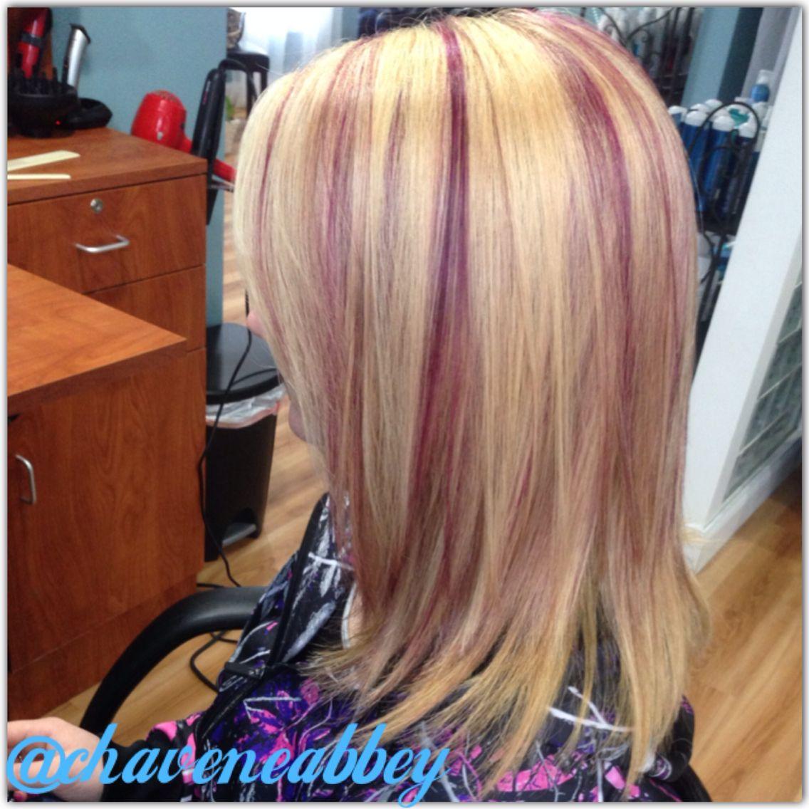 Blonde With Burgundy Lowlights Purple Highlights Blonde Hair
